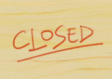 Closed. Drawing depicting wooden panel with the word closed Royalty Free Stock Photo