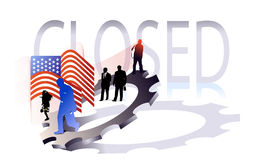 Closed. Vignette with silhouette and flag on the gear for business reviews Royalty Free Stock Photography