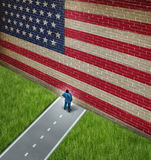 Closed America. And United States government shutdown concept as a metaphor for US closure or strict immigration policy as a businessman on a road blocked  by Royalty Free Stock Image