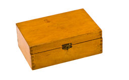 Closed ancient wooden box on white Royalty Free Stock Images