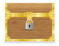 Closed antique chest vector illustration. On white background Stock Photos