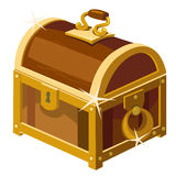 Closed antique chest of wood and gold, Stock Photo