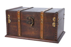 Closed antique wooden trunk Stock Photos