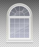 Closed arched window with transparent glass in a white frame. Isolated on a transparent background. Vector royalty free illustration