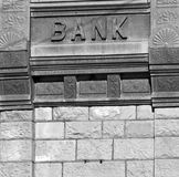 Closed Bank. The exterior of an old bank which closed long ago Stock Images