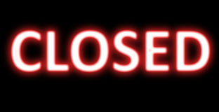 Closed banner neon sign Stock Photography