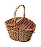 Closed basket for picnic isolated Royalty Free Stock Photography