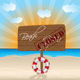 Closed beach wooden sign Royalty Free Stock Photography