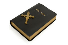 Closed bible with a cross isolated on white Stock Images