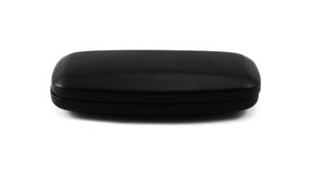 Closed black glasses case  on white. Background Stock Images