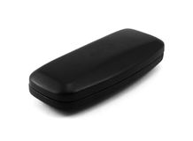 Closed black glasses case  on white. Background Stock Photos