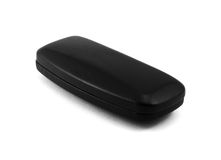 Closed black glasses case  on white Stock Photo