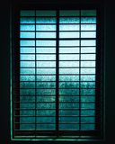Closed Black Metal-framed Frosted Glass Windowpane royalty free stock image