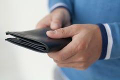 Closed black purse Stock Photos