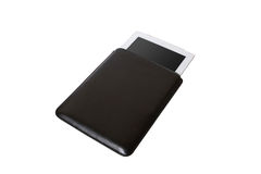 Closed Black tablet case on white background Royalty Free Stock Image