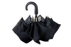 Closed black umbrella isolated on white Royalty Free Stock Photos