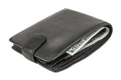 Closed black wallet Royalty Free Stock Photography
