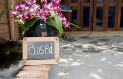 Closed on blackboard Stock Image
