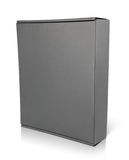Closed blank black carton box on white Stock Photos