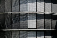 Closed Blinds, Metallic Shutters On Modern Building Stock Photography