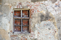 Closed blocked window and old stone Royalty Free Stock Photos