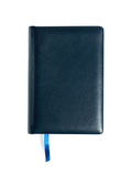 Closed blue leather notebook isolated on white Royalty Free Stock Images