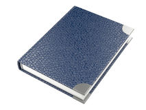 Closed blue leather notebook Stock Photo