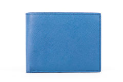 Closed Blue leather wallet isolated on white background Stock Photography
