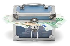 Closed Blue Money Chest royalty free stock images