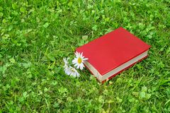 Closed book and chamomile on grass stock images