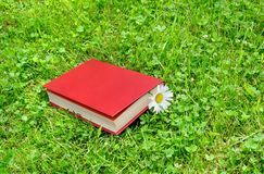 Closed book and chamomile on grass Royalty Free Stock Image