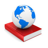 Closed book and globe on white background Royalty Free Stock Image