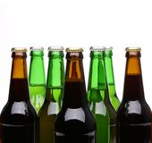 Closed bottles of beer isolated Royalty Free Stock Photography