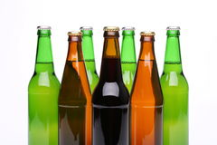 Closed bottles of beer isolated Stock Photography