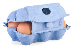 Closed box with six brown eggs Stock Image