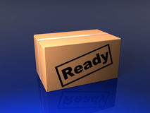 Closed box with stamp. Three dimensional model Stock Images