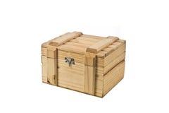 Closed box studio isolate. Wood box isolated on white Royalty Free Stock Image