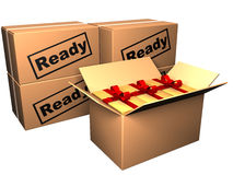 Closed boxes und opened box with gifts Royalty Free Stock Photography