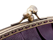 Closed brass clutches of retro stile handbag Stock Images