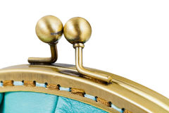 Closed brass clutches of retro stile handbag Stock Image