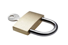Closed Brass Padlock Royalty Free Stock Photos