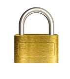 Closed brass padlock illustration Stock Images