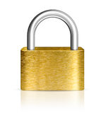 Closed brass padlock or lock Stock Photo