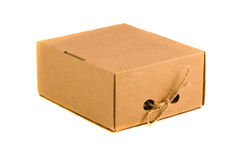 Closed brown cardboard box for spice isolated on white Stock Photo