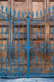 Closed building main door, wood and iron Stock Image