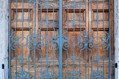 Closed building main door, wood and iron Royalty Free Stock Photography