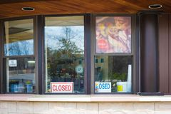 Closed business establishment in Niagara Falls Ontario Canada. Due to unfavorable weather condition of the day to the business stock photo