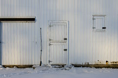 A metal farm building door in Iowa Royalty Free Stock Photo