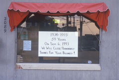 Closed for business sign on window, New Jersey Shore Stock Photo
