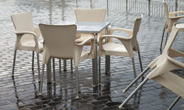 Closed cafe in rain time. Royalty Free Stock Image